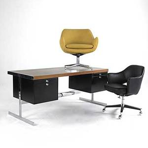 Harvey probber attr teak enameled steel desk together with leather desk chair and wool lounge chair desk 29 x 66 x 30