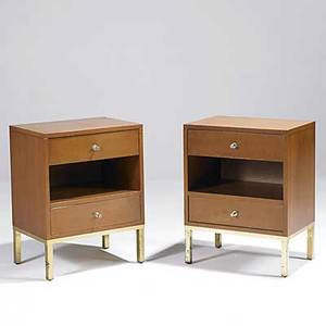 John stuart pair of maple and brass nightstands together with a full headboard not shown unmarked 26 x 20 x 15 12