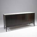 Paul mccobb calvin mahogany cabinet with bifold doors and marble top metal label 34 12 x 71 12 x 19