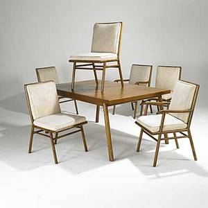 Th robsjohngibbings widdicomb mahogany dining table with two inserts and set of six chairs four side and two arms unmarked table 29 x 62 x 40 inserts 18 arm chairs 35 x 21 12 x 23