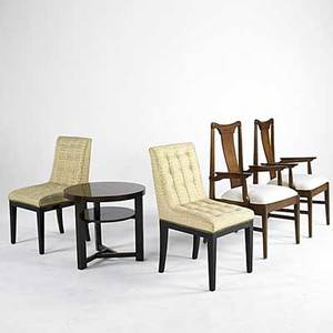 Modern two danish armchairs two dunbar style sidechairs and an occasional table armchairs 40 x 23 x 22