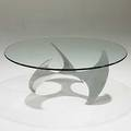 Knut hesterberg ronald schmidt propeller coffee table of polished aluminum with plate glass top unmarked 16 12 x 41 12 glass is 12 thick