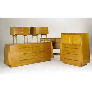 Edmond spence attr maple bedroom suite long dresser tall dresser pair of nightstands and full sized headboard stamped made in sweden long dresser 32 x 78 x 20 tall dresser 46 12 x 42