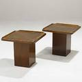 Danish modern pair of occasional tables in walnut with sculpted edge detail 15 14 x 17 sq