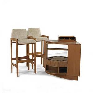 Danish modern dskan teak bar cabinet with revolving interior together with two stools upholstered in wool and kalmar utensil caddy cabinet 30 x 29 12 stools 40 x 18 14 x 17