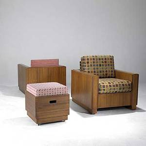 Style of frank lloyd wright pair of mahogany club chairs and ottoman missing one back cushion 36 x 34 x 36