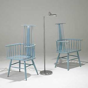 Kip stewart drexel pair of windsor chairs together with walter von nessen floor lamp 42 x 23 x 20