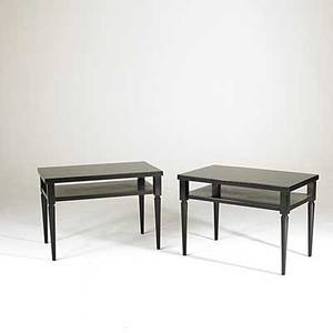T h robsjohn gibbings pair of enameled wood sofa tables each labeled 29 x 35 x 11 34