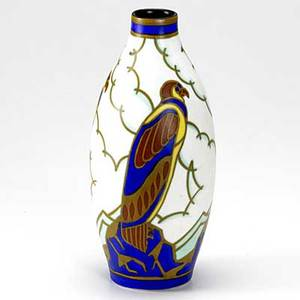 Leon delfant boch freres art deco vase decorated with falcons marked 10 12 x 4 12 dia
