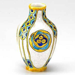 Charles catteau boch freres art deco vase decorated with stylized peacock feathers marked 6 34 x 4