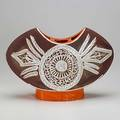Gilbert portanier pillow vase with abstract feather decoration marked portanier editions vallauris some small chips 11 34 x 17 12 x 5