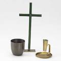 Franz hagenauer wiener werkstatte three pieces two brass pieces cross with green enamel decoration and chamberstick together with wiener werkstatte bronzed cup all marked cross 10