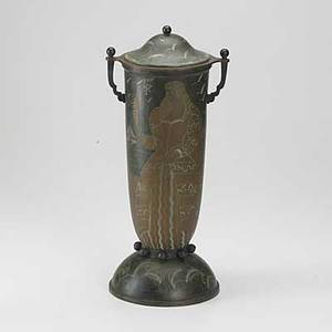 French art deco patinated copper and brass covered urn marked npoincet made in france 17 x 7 12 dia