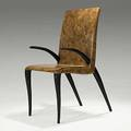 R  y augousti lacquered shell and mahogany chair brass tag 41 12 x 19 14 x 23