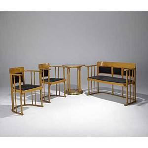 Josef hoffmann thonet beech parlor suite of settee pair of armchairs and occasional table designed ca 1905 produced 1960s unmarked settee 32 x 46 12 x 20 table 29 x 24 dia