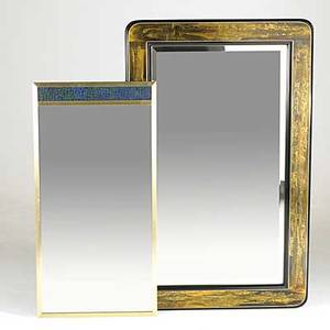Bernard rohne mastercraft three mirrors include bronze clad brass and glass tiled and chromed wrapped one not shown unmarked largest 51 12 x 32 12