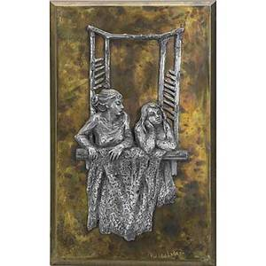 Philip and kelvin laverne bronze and pewter figural relief wallhanging plaque 1972 signed and dated 21 12 x 12 12
