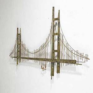 Curtis jere mixed metals wall sculpture of the golden gate bridge signed c jere 32 x 59 x 2 12