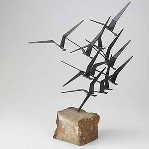 Curtis jere table top sculpture depicting birds in flight in enameled metal on quartz base signed and dated 1969 25 x 22 x 8