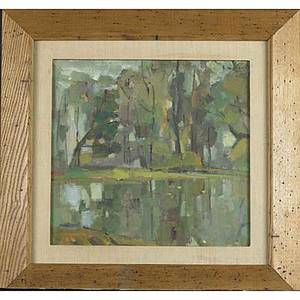 Four landscapes four works framed all signed vladimid shatalow american 20th c two oil paintings on board one dated 1956 david hyde british 20th c pencil drawing of a stream bernard pe