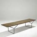 Harry bertoia knoll slat bench in oak with enameled steel unmarked 15 12 x 18 x 72