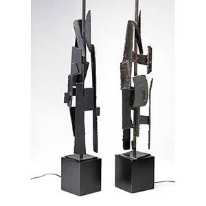 Harry balmer laurel pair of sculptural steel table lamps on cast aluminum bases unmarked 36 12 x 5 14 sq