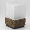 Laurel frosted glass and cork table lamp unmarked 15 x 8 sq