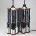French modern chromed steel and walnut lamps unmarked 29 x 10