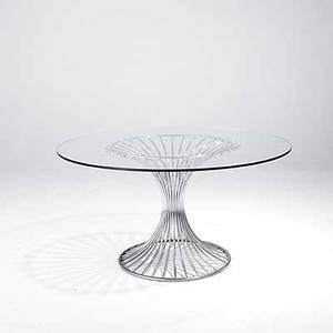 Style of warren platner chromed steel dining table with plate glass top unmarked 29 x 54 dia