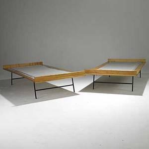 George nelson herman miller pair of birch and enameled steel thin edge twin bed frames unmarked 17 12 x 77 x 38 12