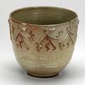 Scheier footed bowl with applied figural decoration two chips to rim signed scheier 45 8 x 8 34 dia