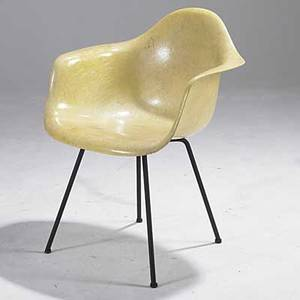 Charles and ray eames herman miller fiberglass and steel ropeedge arm shell early zenith decal 31 12 x 25 x 24