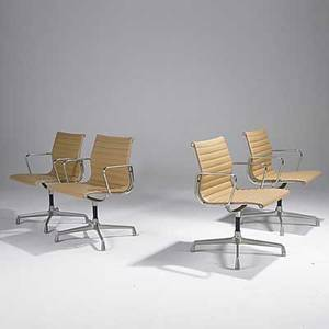 Charles  ray eames herman miller set of four soft pad arm chairs each chair embossed with fabric label 33 x 22 12 x 22