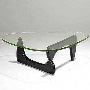 Isamu noguchi herman miller early in50 glass and laquered wood coffee table unmarked 16 x 50 x 36