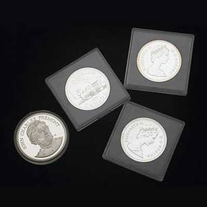 Silver coins and bullion fiftynine pieces thirtytwo 1981 canadian commemorative silver dollars gold standard 10 ot 999 fine bullion total silver 15 ot 925 silver 31 ot 999 fine silver
