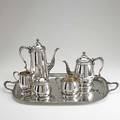 Durham american silver coffee service five pieces and tray 19501960 tapered with reed edges and rose handles acorn finials unmonogrammed 11 coffee pot 8 12 tea pot 3 12 waste bowl 180 ot
