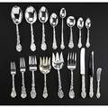 Gorham silver flatware service in the versailles pattern designed by antoine heller 1888 elevenpiece service for eight less three and ten serving pieces some inscribed 8 7 34 dinner fork