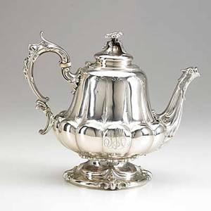 Rogers  wendt coin silver coffee pot boston ca 1860 footed inverted pear form melon lobed with bird spout and flower finial script monogram 34 ot 8
