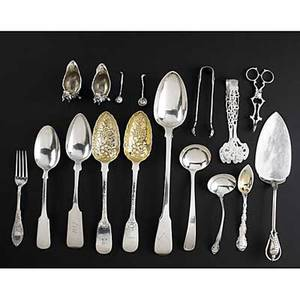Silver serving pieces seventeen pieces 18081940 9 34 cake server by paul petersen canada 12 stuffing spoon by crossley and smith london 1808 2 9 14 berry spoons by t cox savory london