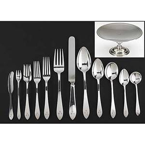 Tiffany  co silver faneuil flatware service and tazza 19151947 monogrammed service 110 pieces 12 each of 6 utensils 6 each of 5 utensils and 7 serving pieces 12 of each 6 teaspoons 6 78