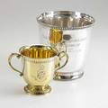 Two tiffany  co silver horse racing trophies wine cooler inscribed volante handicap 1984 silver gilt two handled cup inscribed san bernardino handicap 612 ot taller 8