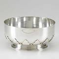 Tiffany  co silver cut card work centerbowl portugal 20th c round bowl within saracenic shaped base 632 ot 5 12 x 9 12