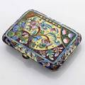 Russian enameled silver gilt cigarette case 6th moscow artel 19081915 84 standard all surfaces profusely enameled in traditional style garnet cabochon thumbpiece 1035 gs 3 x 2 316
