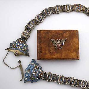 Russian enameled silver belt and a cigarette case 18991908 champleve decoration on stippled ground ivan ado assay master unrecognized maker possibly nikomor zotov simitar clasp every second l