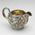 Russian enameled silver gilt cream pitcher moscow 18981908 marks for nicholai zugeryer 84 standard and soviet era marks 42 ot 2 34 above spout