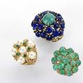 Three gemset 14k bombe rings emerald and turquoise cabochons foliate motif lapis and turquoise cabochons foliate motif cultured pearls and emeralds rope motif 319 gs sizes 56 12