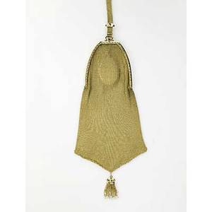 Durand  co gold mesh evening bag newark nj ca 1910 flared pouch on chased oblong frame suspends seed pearl tassel sapphire slide on 6 12 strap sapphire thumbpiece complete with removable gold