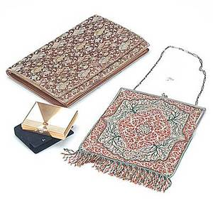 Two tiffany  co evening bags and 14k compact engraved sterling framed caviar beaded example persian carpet motif front and back 8 beyond fringe 13 paperclip chain silk brocade and kidskin clutc