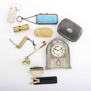 Gold and silver accessories 19th20th c 14k yg matchsafe marked je caldwell  co cased pair 14k collar stays 14k cased penknife 14k and sterl buckle by tiffany  co soviet era enameled silve