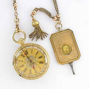 American gold pocket watch parure 19th c 18k open cased watch keywind and keyset multihued gold face possible mark for ball  poor multihued 14k fancy chain with fringe 14k fancy watch key